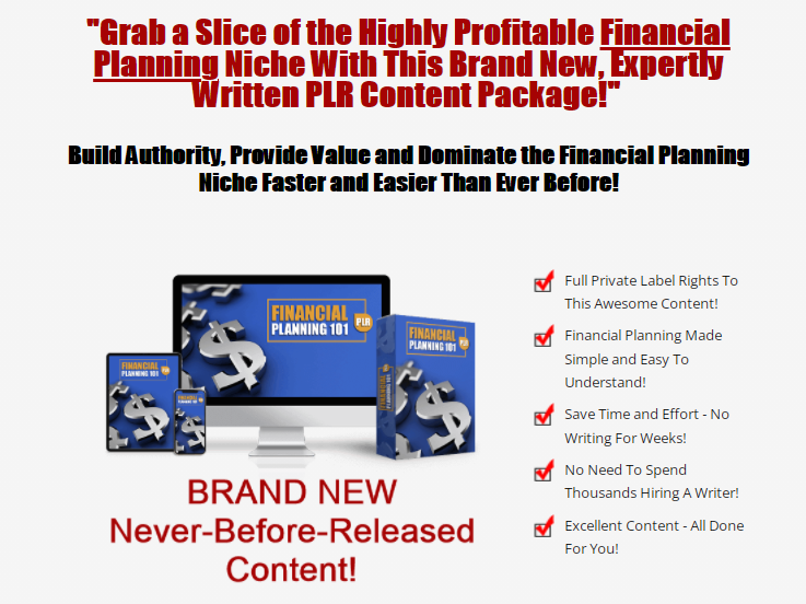 Financial Planning 101 PLR & OTO UPSELL Review by Arun Chandran