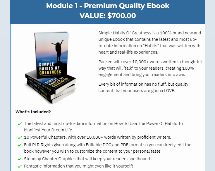 Simple Habits Of Greatness PLR Package & OTO Review by Yu Shaun